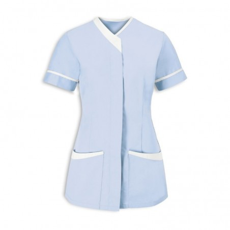 Women's Contrast Trim Tunic (Pale Blue With White Trim) - NF54