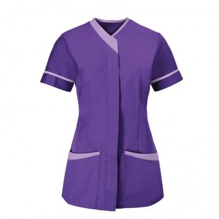 Women's Contrast Trim Tunic (Purple With Lilac Trim) - NF54