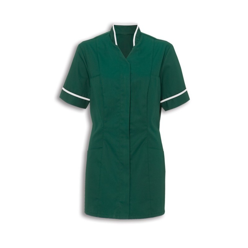 Women's Mandarin Collar Tunic (Bottle Green With White Trim) - NF20