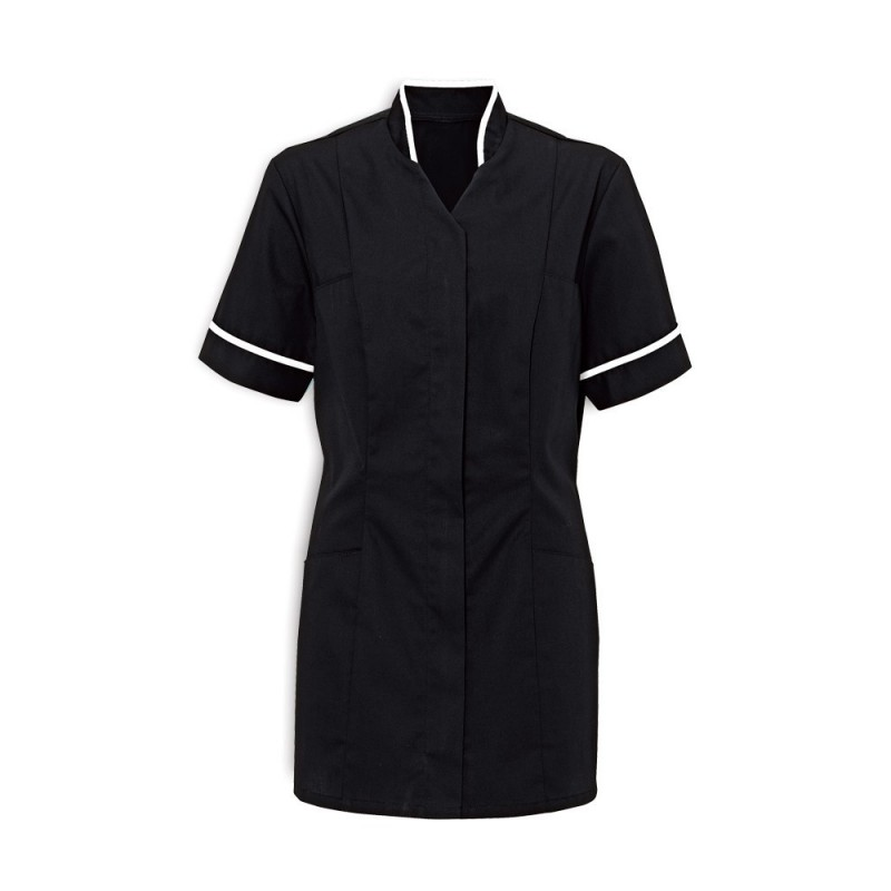 Women's Mandarin Collar Tunic (Black With White Trim) - NF20
