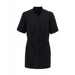 Women's Mandarin Collar Tunic (Black with Black Trim) - NF20