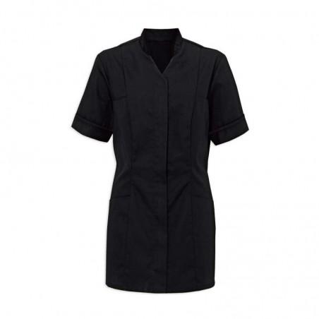 Women's Mandarin Collar Tunic (Black With Black Trim) - NF20