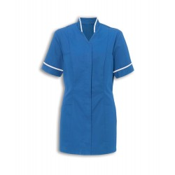 Women's Mandarin Collar Tunic (Hospital Blue with White Trim) - NF20