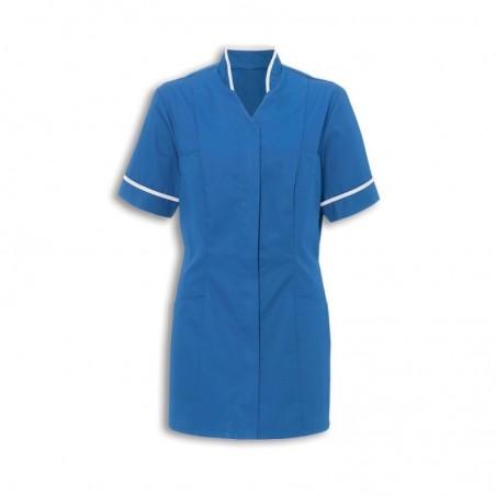 Women's Mandarin Collar Tunic (Hospital Blue With White Trim) - NF20