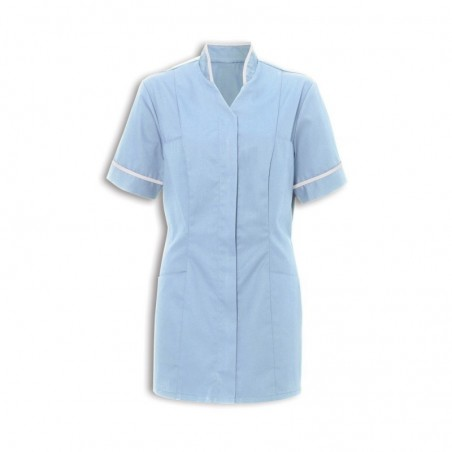 Women's Mandarin Collar Tunic (Pale Blue With White Trim) - NF20