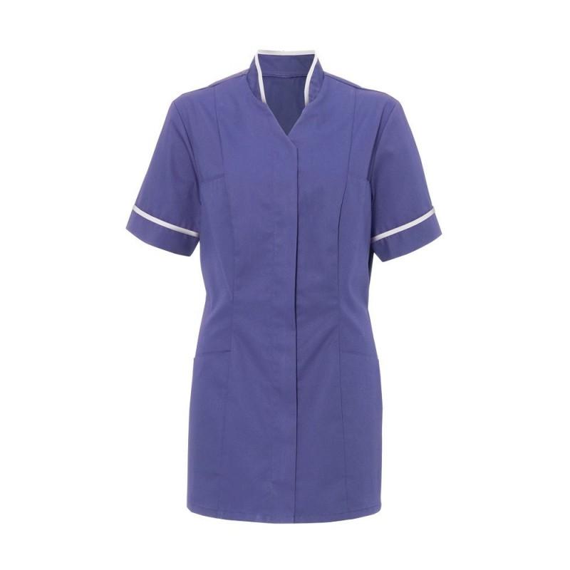 Women's Mandarin Collar Tunic (Purple With White Trim) - NF20