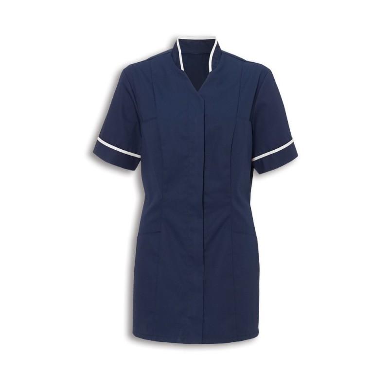 Women's Mandarin Collar Tunic (Sailor Navy With White Trim) - NF20