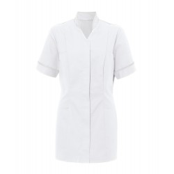 Women's Mandarin Collar Tunic (White with White Trim) - NF20