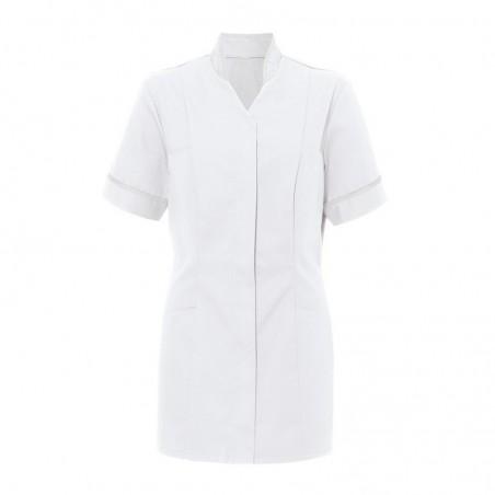 Women's Mandarin Collar Tunic (White With White Trim) - NF20
