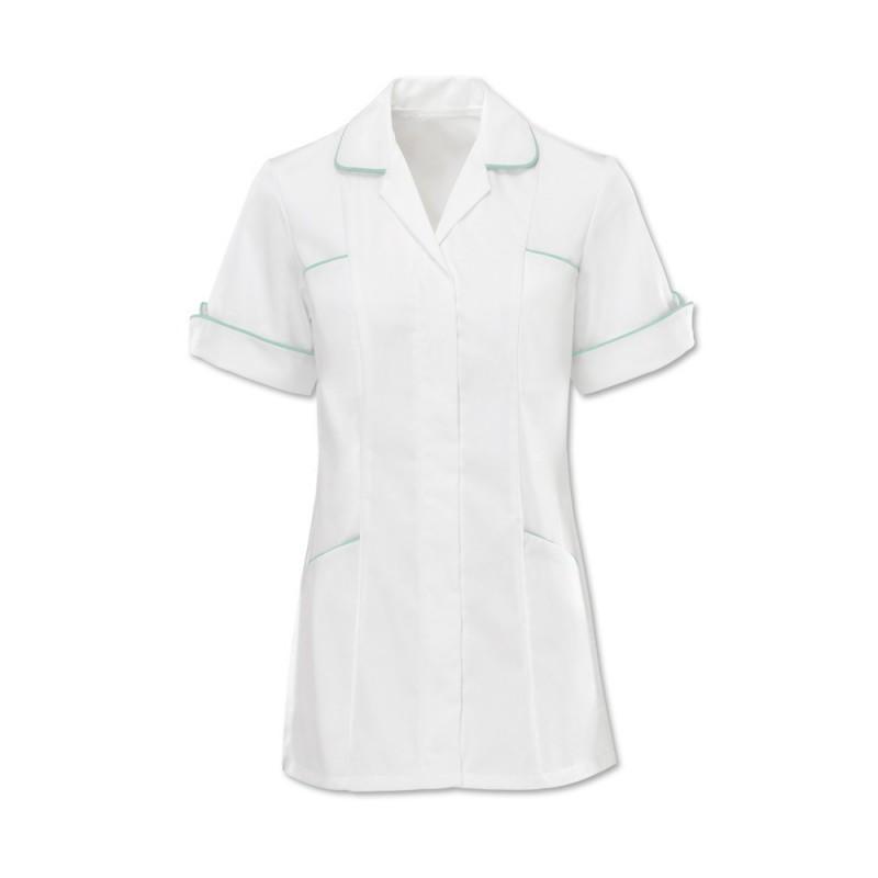 Women's Trim Tunic (White With Aqua Trim) - D258W