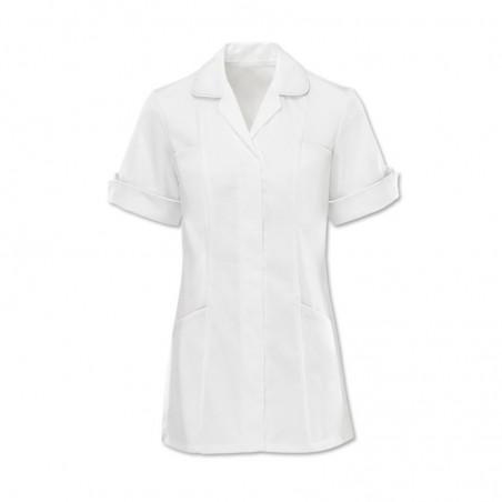 Women's Trim Tunic (White With White Trim) - D258W