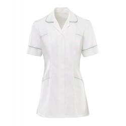 Women's Trim Tunic (White With Aqua Trim) - H212W