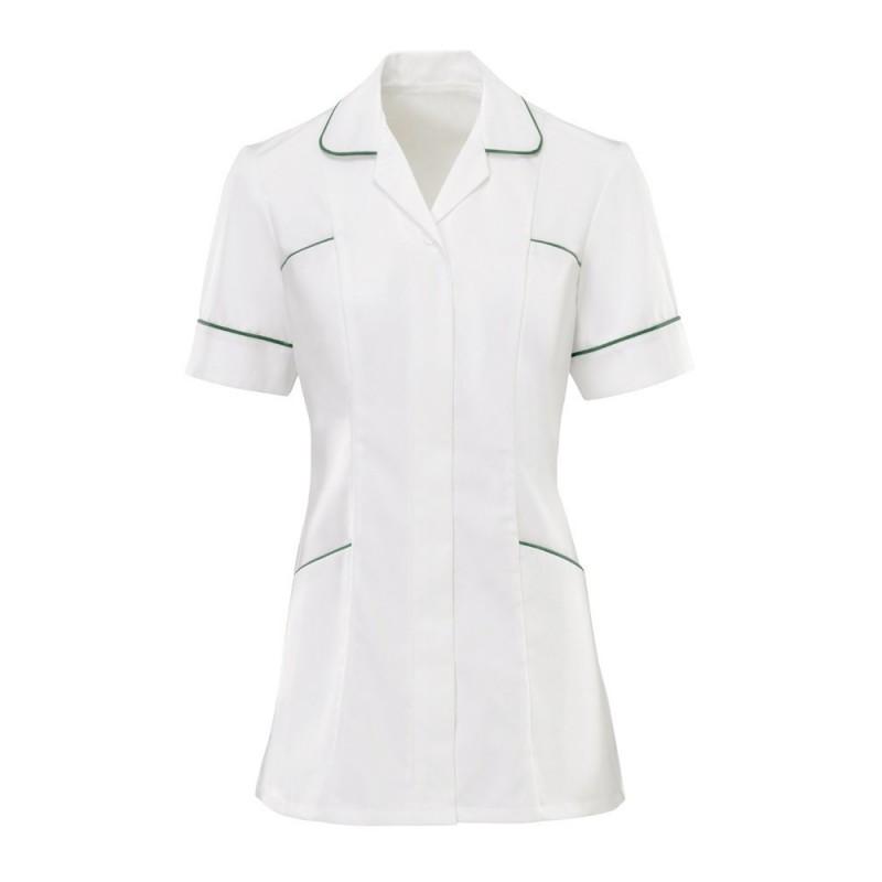 Women's Trim Tunic (White With Bottle Green Trim) - H212W
