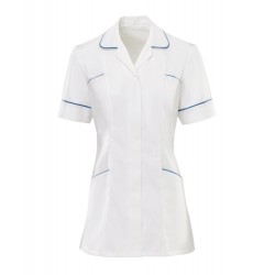 Women's Trim Tunic (White With Hospital Blue Trim) - H212W