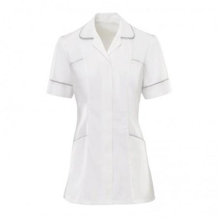 Women's Trim Tunic (White With Pale Grey Trim) - H212W