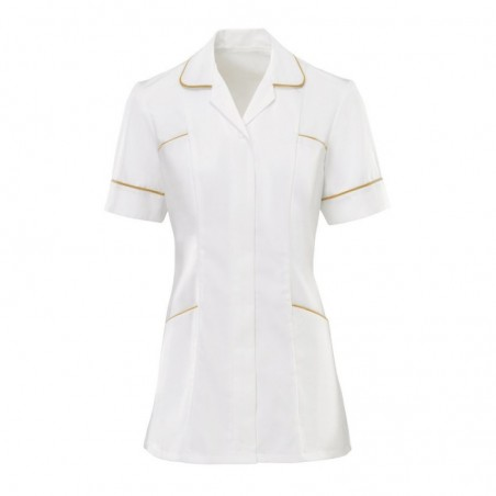 Women's Trim Tunic (White With Yellow Trim) - H212W