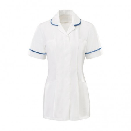 Women's Tunic (White With Hospital Blue Trim) - HP369W