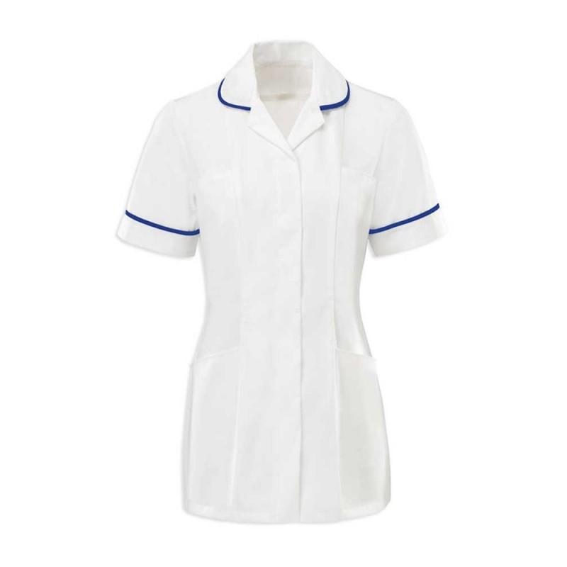 Women's Tunic (White With Royal Box Trim) - HP369W
