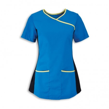 Women's Stretch Scrub Tunic (Blade Blue With Lime Trim) - NF43