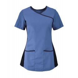 Women's Stretch Scrub Tunic (Metro Blue with Navy Trim) - NF43