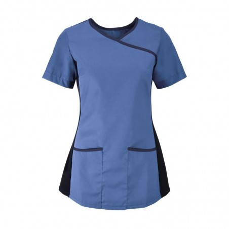 Women's Stretch Scrub Tunic (Metro Blue With Navy Trim) - NF43