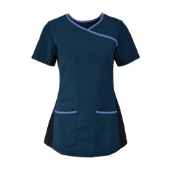 Women's Stretch Scrub Tunic (Navy with Metro Blue Trim) - NF43