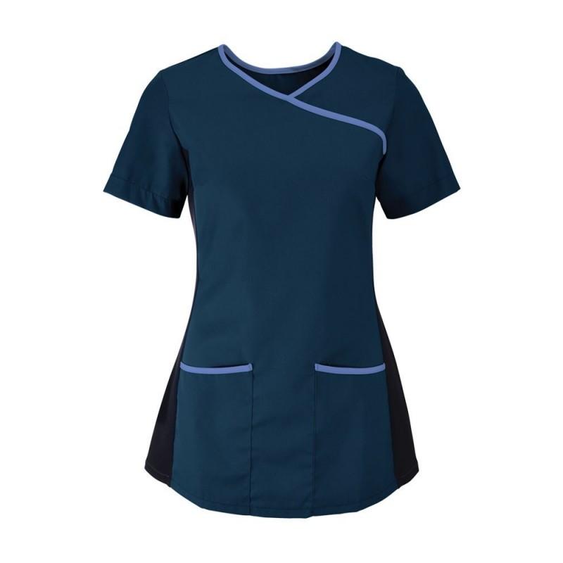 Women's Stretch Scrub Tunic (Navy With Metro Blue Trim) - NF43