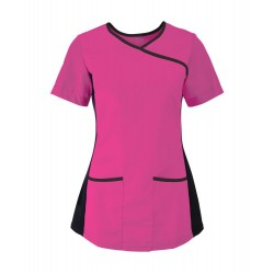 Women's Stretch Scrub Tunic (Pink with Black Trim) - NF43