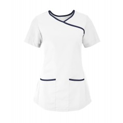 Women's Stretch Scrub Tunic (White with Navy Trim) - NF43