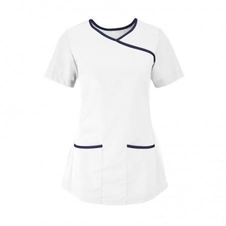 Women's Stretch Scrub Tunic (White With Navy Trim) - NF43