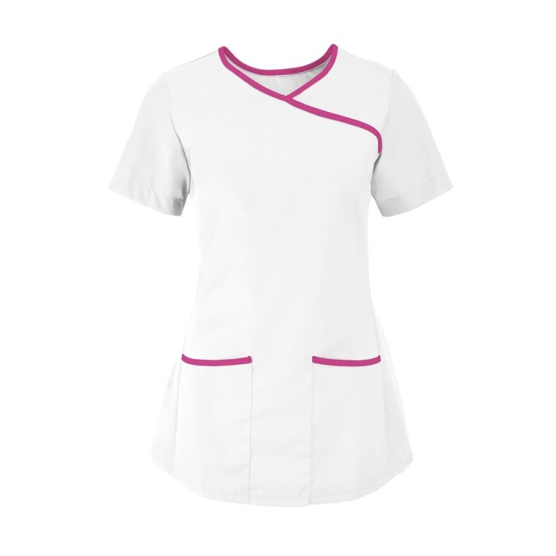 Women's Stretch Scrub Tunic (White With Pink Trim) - NF43