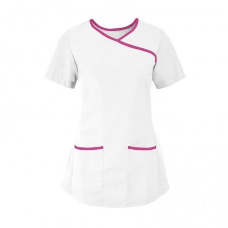Women's Stretch Scrub Tunic (White With Pink Trim) - NF43