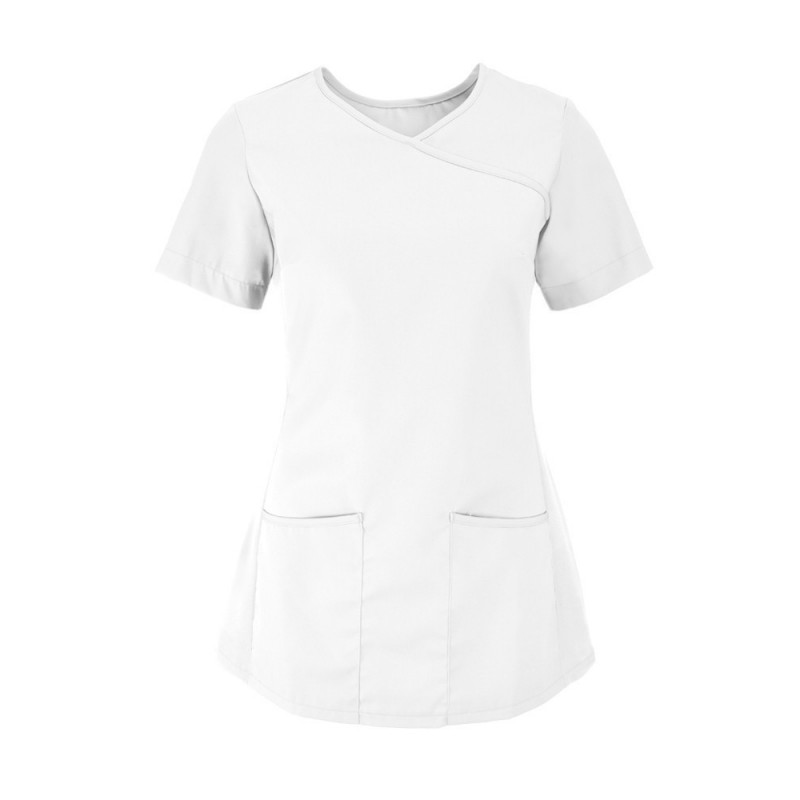 Women's Stretch Scrub Tunic (White With White Trim) - NF43