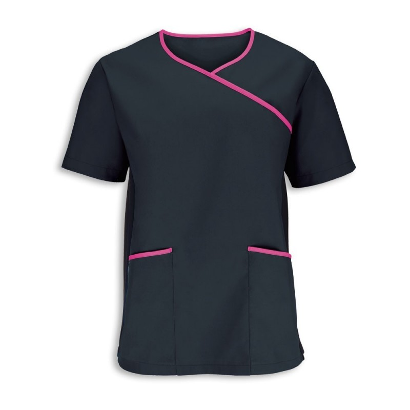 Men's Stretch Scrub Top (Black With Pink Trim) NM43
