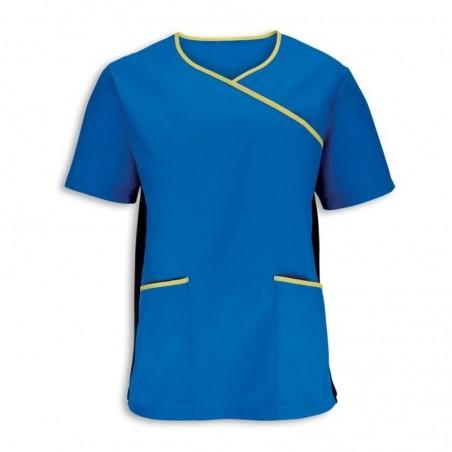 Men's Stretch Scrub Top (Blade Blue With Lime Trim) - NM43