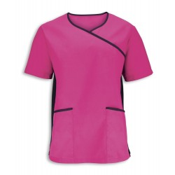 Men's Stretch Scrub Top (Pink With Black Trim) - NM43