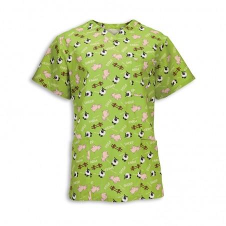 Unisex Piggy Print Scrub Tunic (Lime Green) - NU93