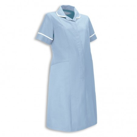 Maternity Dress (Pale Blue With White Trim) - NF53