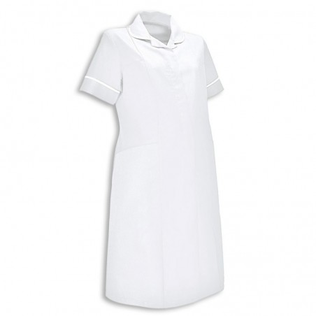 Maternity Dress (White With White Trim) - NF53