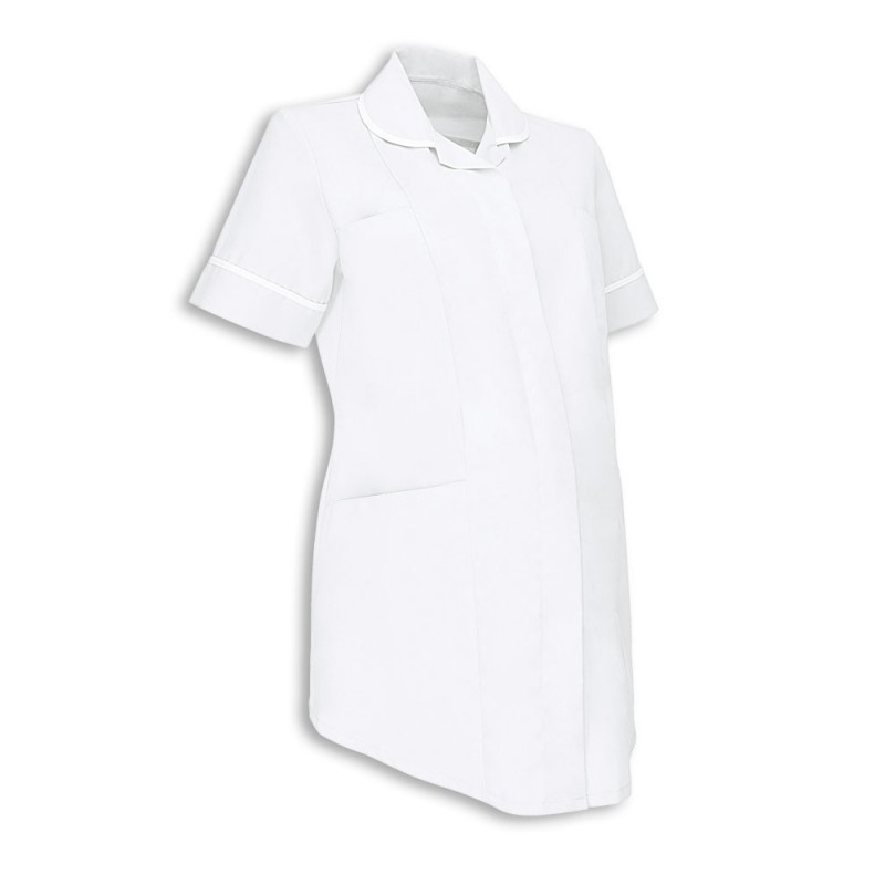 Maternity Tunic (White With White Trim) - NF52