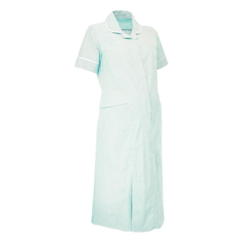 Maternity Stripe Dress (Aqua With White Trim) - NF56