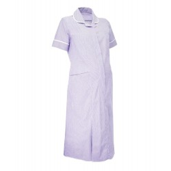Maternity Stripe Dress (Lilac with White Trim) - NF56