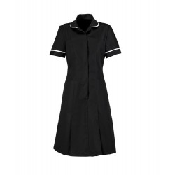 Zip Front Dress (Black with White Trim) - HP297