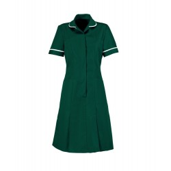 Zip Front Dress (Bottle Green with White Trim) - HP297
