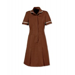 Zip Front Dress (Brown with White Trim) - HP297