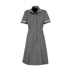Zip Front Dress (Convoy Grey with White Trim) - HP297